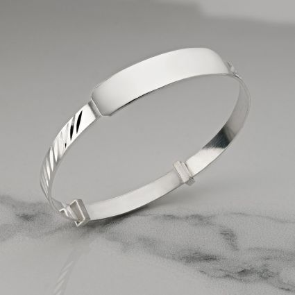 Sterling Silver Engraved Baby and Small Child Expandable ID Bangle