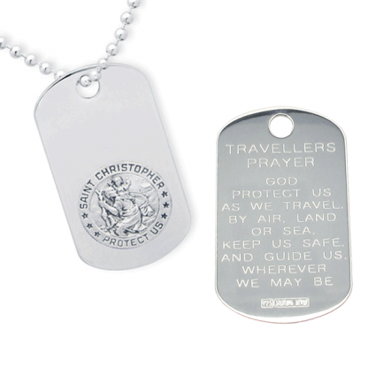 Sterling Silver Engraved St Christopher Dog Tag With Travellers Prayer Optional Front Engraving and Chain