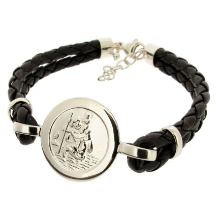 Ladies Leather and Sterling Silver St Christopher Bracelet With Travellers Prayer On Black Leather Bracelet (Front)