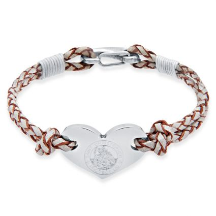 Ladies Leather and Stainless Steel Heart St Christopher Bracelet