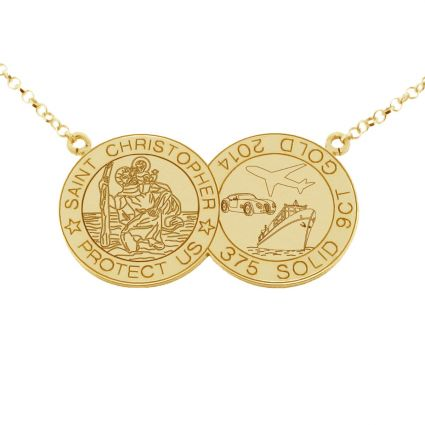 9ct Yellow Gold Plated Double Coin St Christopher Necklace
