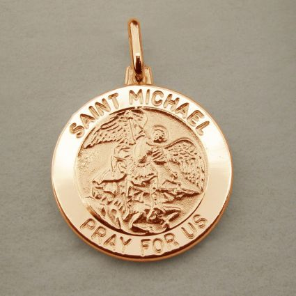 9ct Rose Gold Plated St Michael Medal