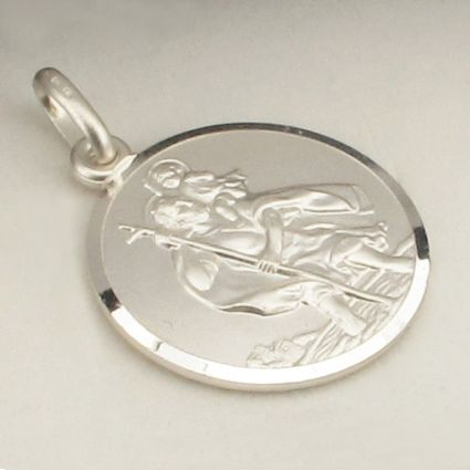 Sterling Silver 14mm St Christopher Pendant