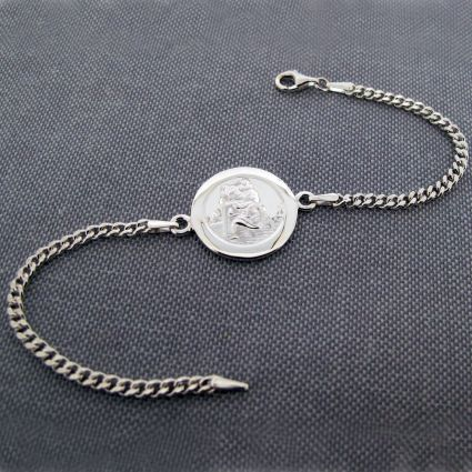Sterling Silver Mens St Christopher Bracelet With Optional Engraving