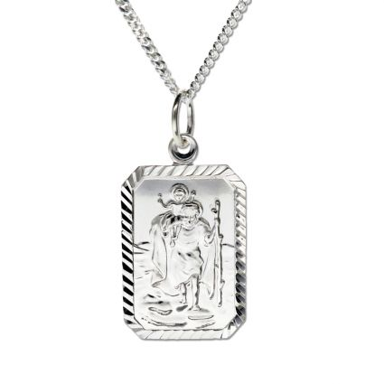 Sterling Silver Diamond Cut Rectangle St Christopher Pendant