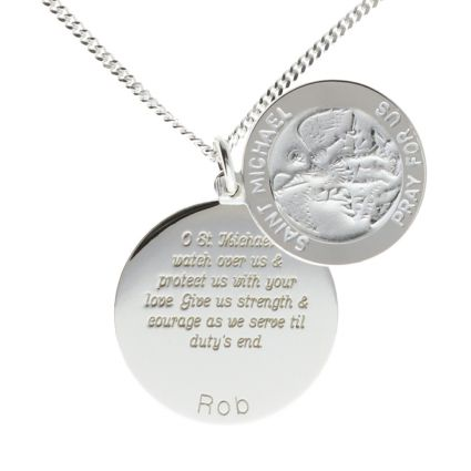 Sterling Silver Personalised St Michael With Round Concealed St Michaels Prayer and Optional Engraving