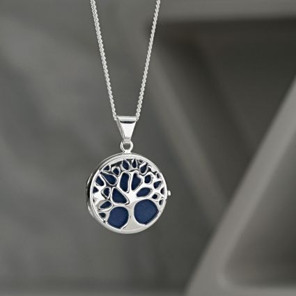 Sterling Silver Tree Of Life Picture Locket With Optional Engraving and Chain