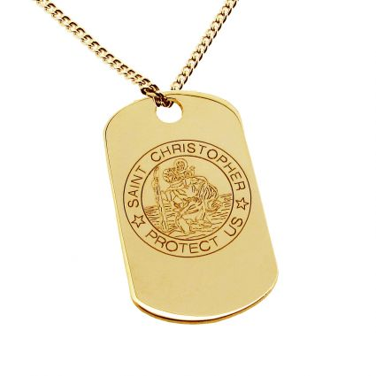 14k Gold St Christopher Dog Tag With Optional Engraving