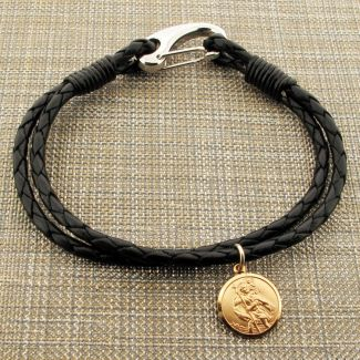 Black Leather Bracelet with 14mm Solid Gold Round St Christopher Pendant