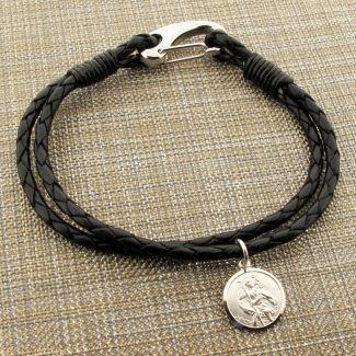 Black Leather Bracelet with 14mm Round Sterling Silver St Christopher