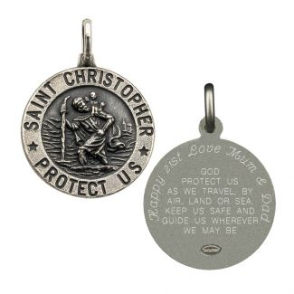 Antique Finish Sterling Silver 21mm 3D St Christopher Pendant With Travellers Prayer With Optional Engraving