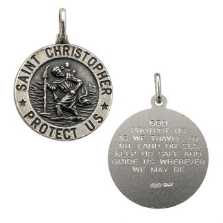 Antique Finish Sterling Silver 21mm 3D St Christopher Pendant With Travellers Prayer