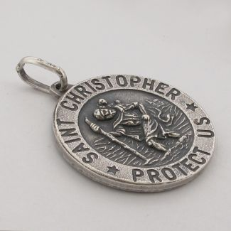 Antique Finish Sterling Silver 18mm 3D St Christopher Pendant With Optional Engraving and Chain