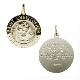 Sterling Silver 21mm 3D St Christopher Pendant With Travellers Prayer