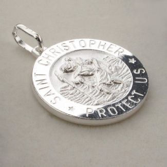 Sterling Silver 18mm 3D St Christopher Pendant With Optional Engraving and Chain