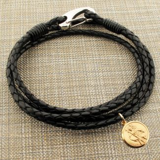 Black Leather Bracelet with 14mm Round Solid Gold St Christopher