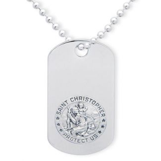 Sterling Silver Engraved St Christopher Dog Tag With Optional Engraving