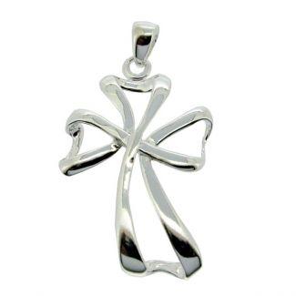 Sterling Silver Clover Leaf Cross Pendant