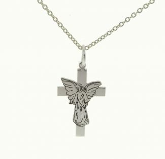 Sterling Silver Guardian Angel on Cross Pendant