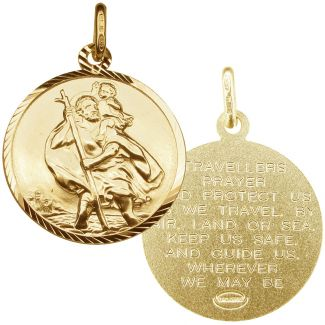 9ct Yellow Gold Diamond Cut 20mm St Christopher Pendant With Travellers Prayer