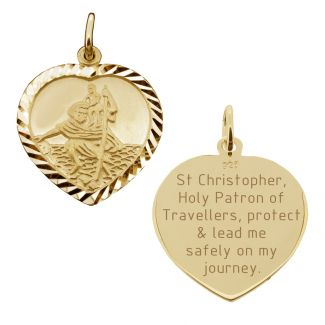 9ct Yellow Gold Diamond Cut Heart St Christopher Pendant With Travellers Prayer
