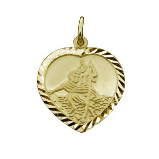 9ct Yellow Gold Plated Diamond Cut Heart St Christopher Pendant With Optional Engraving and Chain