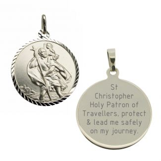Sterling Silver Diamond Cut 16mm St Christopher Pendant With Travellers Prayer