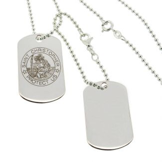 Sterling Silver Large St Christopher Double Dog Tags With Travellers Prayer