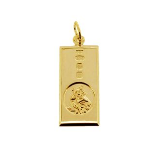 9ct Yellow Gold Custom Hallmarked St Christopher Ingot With Optional Engraving and Chain