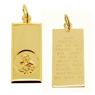 9ct Yellow Gold Large St Christopher Ingot With Travellers Prayer & Optional Engraving