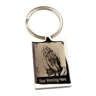 Mirror Polished Rectangle Keyring With Praying Hands