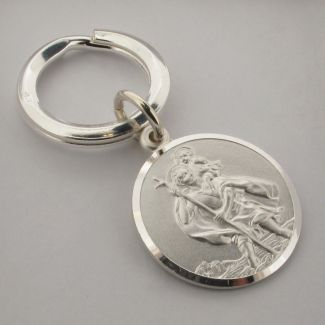 Sterling Silver 24mm St Christopher Keyring