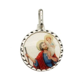 Sterling Silver & Colour St Christopher Pendant