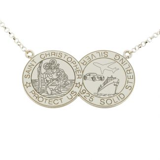 Sterling Silver Double Coin St Christopher Necklace
