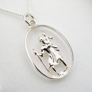 Sterling Silver Oval Cut Out St Christopher