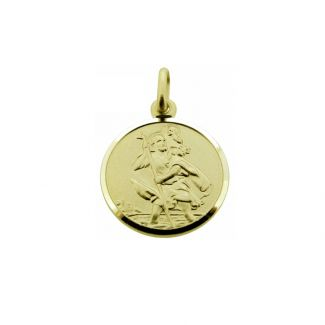 9ct Yellow Gold 14mm St Christopher Pendant