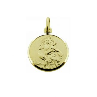 9ct Yellow Gold 16mm St Christopher Pendant