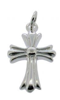 Sterling Silver Papal Ribbon Cross Pendant