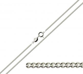 9ct White Gold 1.1mm Diamond Cut Curb Chain