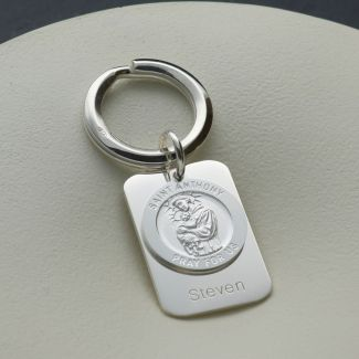 Sterling Silver Personalised Rectangle St Anthony Keyring With Prayer