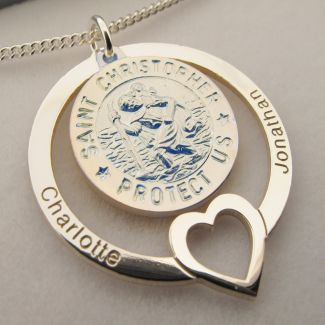 Sterling Silver Personailsed Heart 3D St Christopher Family Pendant