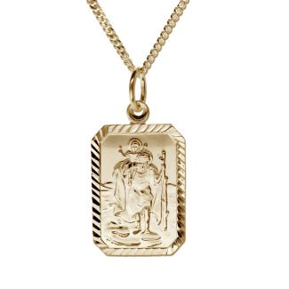 9ct Yellow Gold Plated Diamond Cut Rectangle St Christopher Pendant With Optional Engraving and Chain
