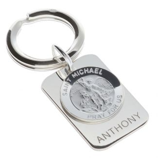 Sterling Silver Personalised Rectangle St Michael Keyring With Prayer