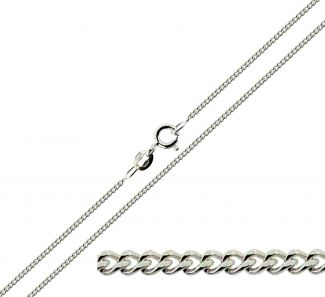 9ct White Gold 1.3mm Diamond Cut Curb Chain