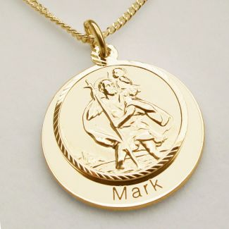 9ct Yellow Gold Plated Personalised St Christopher With Concealed With Travellers Prayer