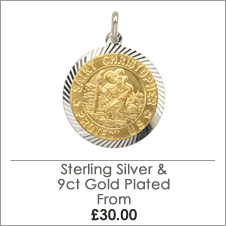 Gold Plated Set in Sterling Silver St Christopher Pendants